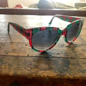 Thierry Lasry Velvety green & red plaid sunglasses